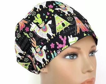 Woman\u2019s llama scrub cap with cordlock
