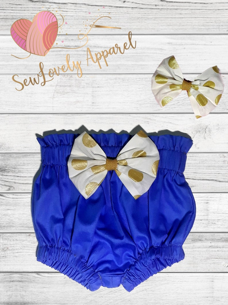 Diaper Cover Toddler Bloomers Spring Bloomers Infant Bloomers Royal Blue High Waist Baby Bloomers with Matching Headband