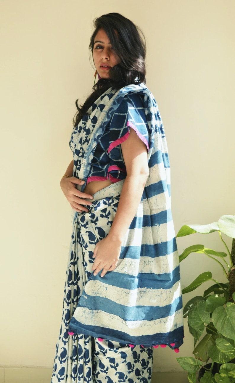 Dabu handblock printed indigo cotton saree