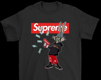 f3ec5133c83c Bugs Rabbit Supreme And Gucci- Bugs Bunny Supreme Premium- LIMITED EDITION  Black White T-Shirt Men's trend 2019 Bugs Bunny Tee- Size S- 3XL
