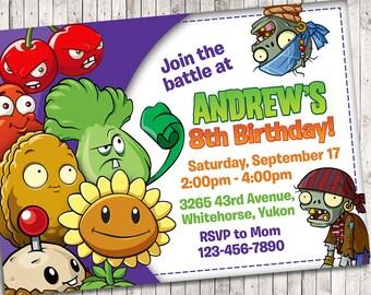 Plants Vs Zombies Invitation Plant Zombie Birthday Party Pvz Invitations Game Invite Printable Digital Card