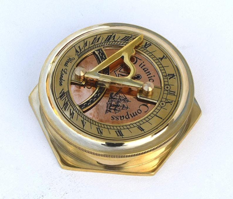 Antique Brass Folding Sundial Compass ~ Nautical Maritime ~ Sun Dial