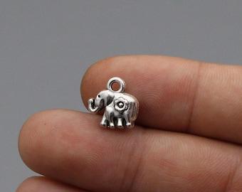 40pcs mini elephant silver tone 2 sided elephant charm pendant 11x8mm