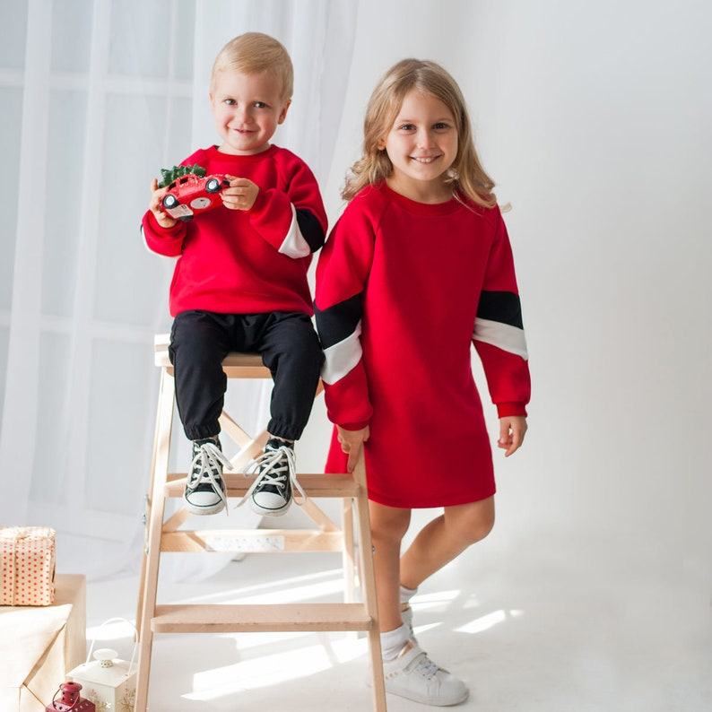 Warm red family set dresses for girls and mother and sweatshirt for son