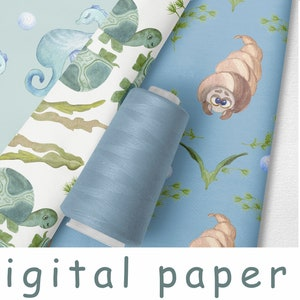 Set of 6 Sheets of Nautical Seagull Wrapping Paper in A3 Size with Twine