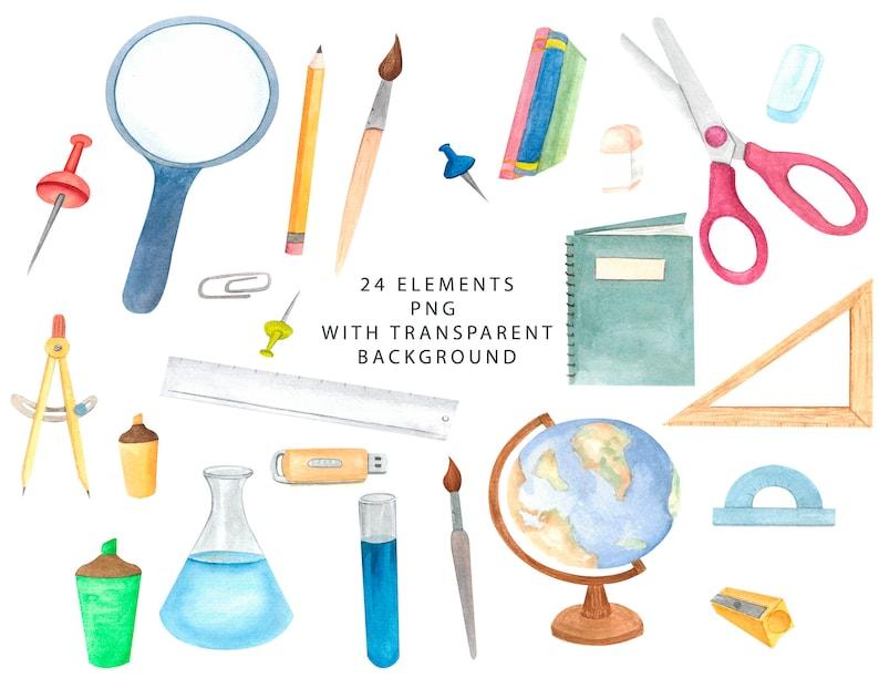 Student Clipart Watercolor School Clipart school supplies clipart Back to School Watercolor clipart