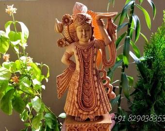 Wood Carved Lord Shri Nath Ji Statue
