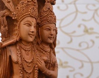 Sandalwood Fine Carved Radha Krishna Under Tree