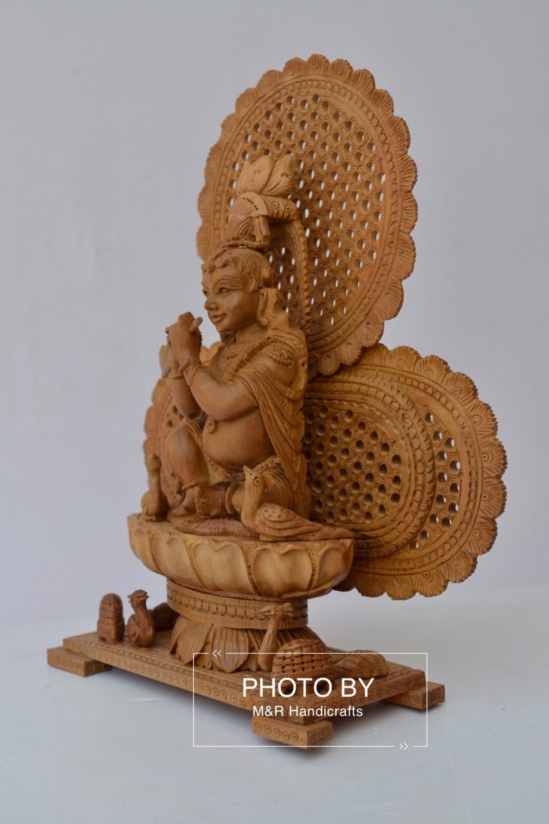 Sandalwood Carved Baby Krishna Statue with Unique Base