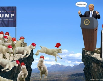 Image result for trump sheep over cliff