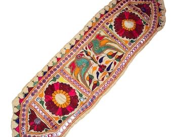 ETHNIC Indian Gujarat Kutch Rabari Hand Embroidery Mirror Work Trim Vintage Valence Door Hanging Home Decor Banjara Gypsy 85 Long X 5 Wide