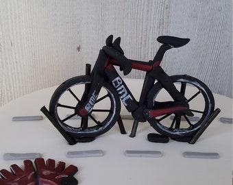 Fondant Gum Paste BMC Race Bike Bicycle Wheels Hobby Sport Transportation Helmet Gloves Birthday Cake Topper  Decorations