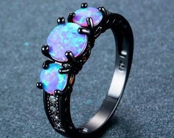 Blue Opal Ring silver opal ring fire opal October birthstone ring Sterling silver ring silver wish bone Ring