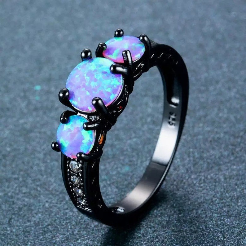 Blue Fire Opal Black Gold Filled Ring image 0