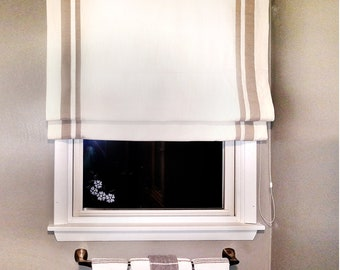 with valance SG-006 white with pink trim Classic roman shade washable flat and fold custom option to add blackout lining