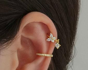 Butterfly hoop earrings - Cartilage hoop earrings - Cz dangle charm hoops - Cz earrings - Minimalist earrings - Tiny Hoop Earrings -