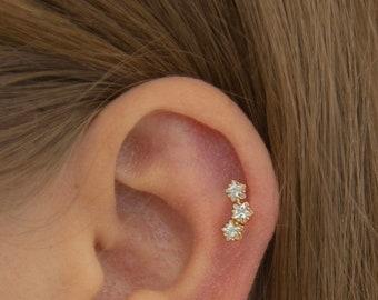 Three star cz stud earring - Sterling Silver Minimalist earrings - Perfect Daily earring