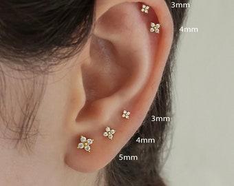 flower earrings gold