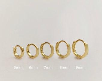 Round Edge Hoop Earring - Gold huggie hoops earring - Sterling Silver Hoop Earring