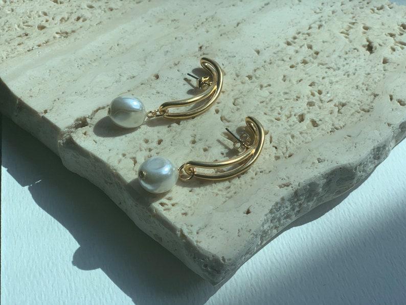 Half stud pearl earrings Half hoop earrings Half pearl hoop Half pearl stud earrings Half circle earrings Half circle pearl earrings