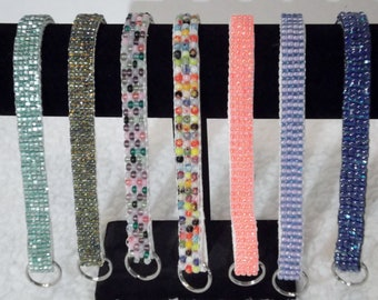 Beaded Neckware with Chain Martingale to fit neck sizes up to 10-12-inches Dog Bling
