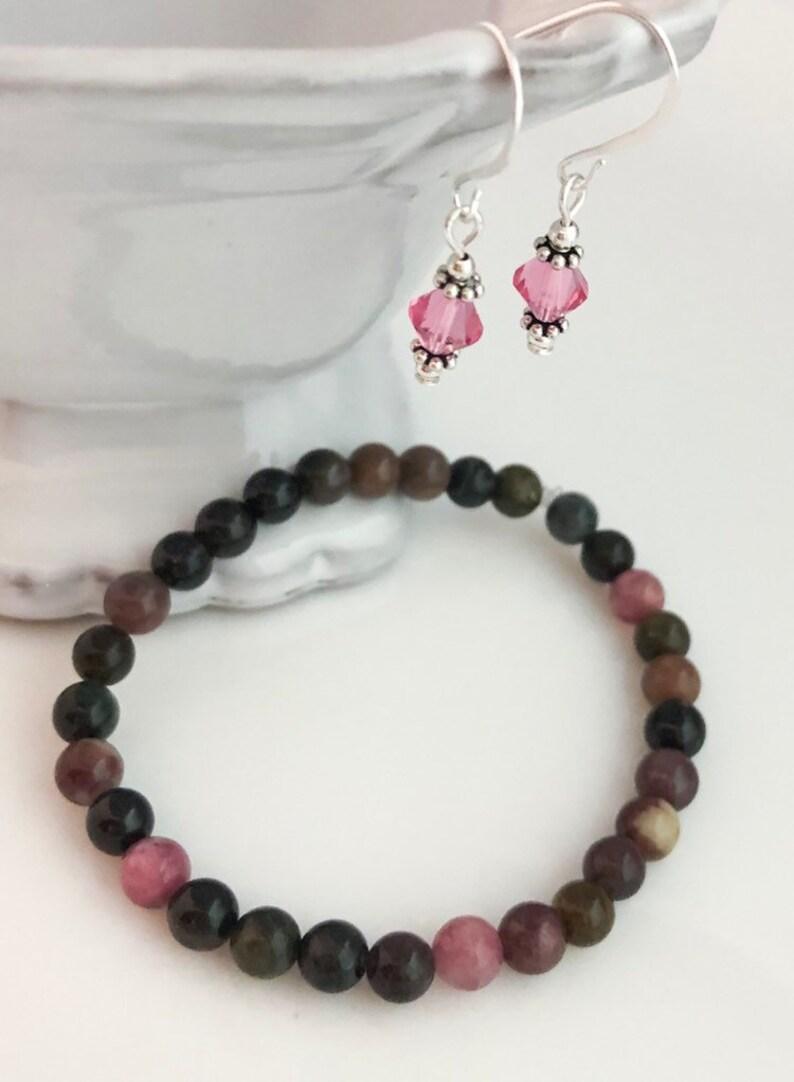 Natural Tourmaline Beaded Crystal Jewelry SetTourmaline Stretch BraceletMulti Color Bracelet EarringsRose Pink Earrings