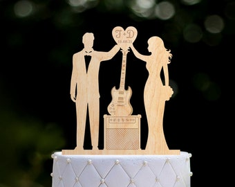 Personalized guitar wedding cake topper,musician acoustic guitar player wedding topper,wedding musicians electric guitar cake topper,0394