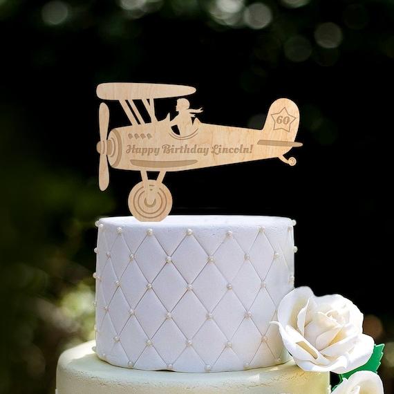 Wondrous Vintage Airplane Birthday Cake Topperplane Birthday Cake Etsy Funny Birthday Cards Online Barepcheapnameinfo