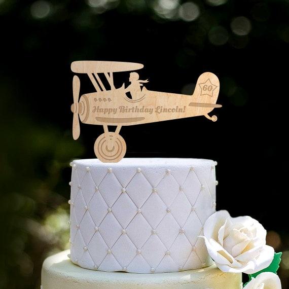 Terrific Vintage Airplane Birthday Cake Topperplane Birthday Cake Etsy Funny Birthday Cards Online Alyptdamsfinfo