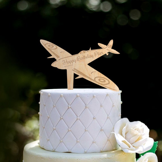 Airplane Topper Happy Birthday Anniversary Cake House Decoration LG