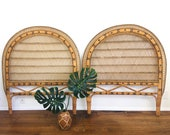 Vintage PEACOCK Style WICKER RATTAN Pair of Twin or King Headboard Bohemian Chic Style