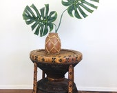 Vintage PEACOCK Style WICKER RATTAN Side Table Bohemian Chic Style