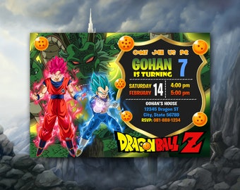 Dragon Ball Invitation Birthday Party Z Super SSG