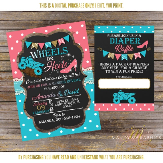 Wheels Or Heels Gender Reveal Invitation And Diaper Raffle Etsy