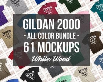 3370f223d Gildan Mockup Bundle All Colors On White Wood | Unisex Or Mens Tshirt  Mockup Mega Bundle | Gildan 2000 T-Shirt Flat Lay