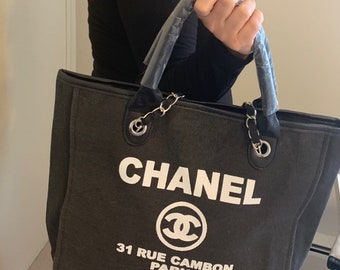 7587dce194b CHANEL Inspired Canvas Bag with White CC Emblem Shopping Bag Favor Bag Gift Bag  Tote Bag Diaper Bag- Great Easter Mother s Day Gift