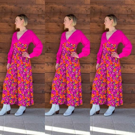 Fantastic 1970's Hot Pink Floral Print Jumpsuit