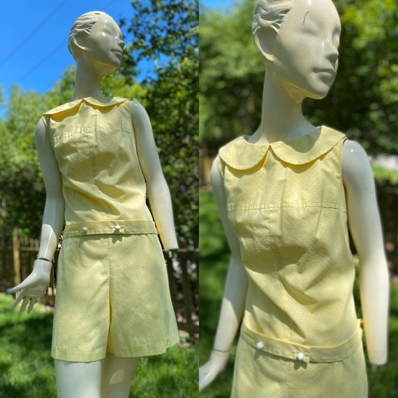 Vintage 1960's Yellow Dotted Swiss Playsuit Romper