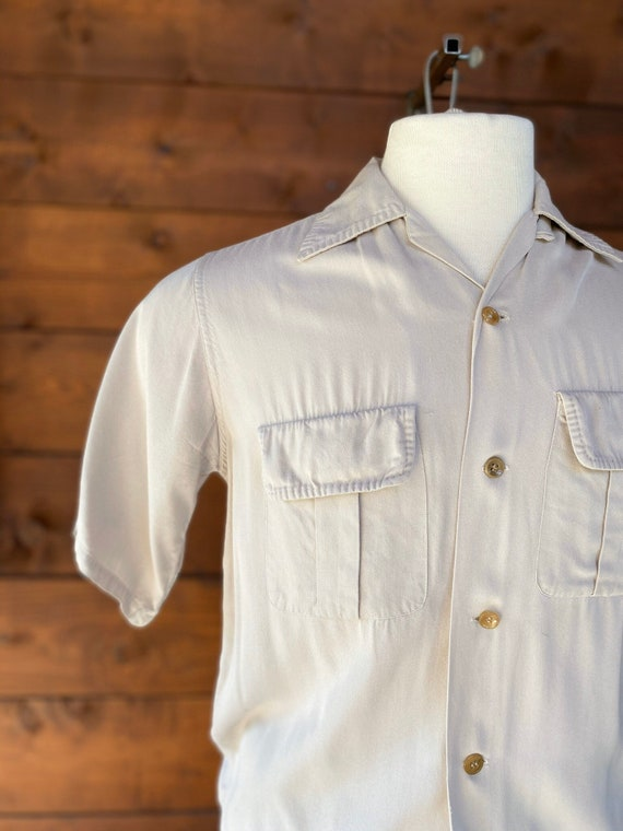 Vintage 1940's 50's Bowling Shirt/Gabardine - image 5