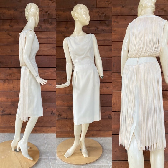 Super Sexy 1960's White Fringed Wiggle Dress