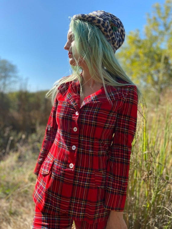 1970's Punky Red Plaid Two Piece Pant Suit - image 5