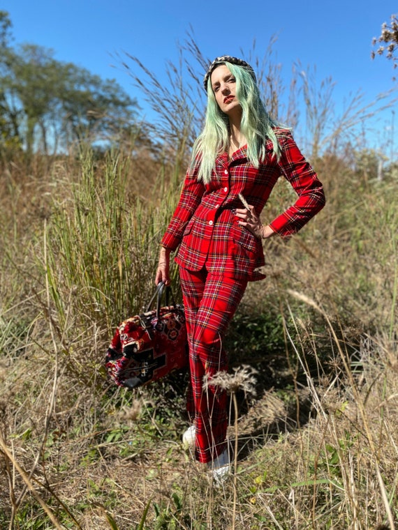 1970's Punky Red Plaid Two Piece Pant Suit - image 10