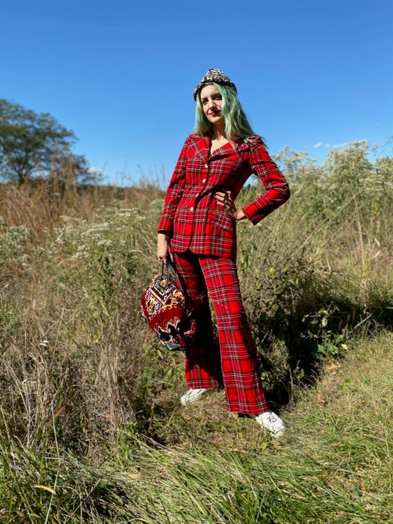 1970's Punky Red Plaid Two Piece Pant Suit - image 2