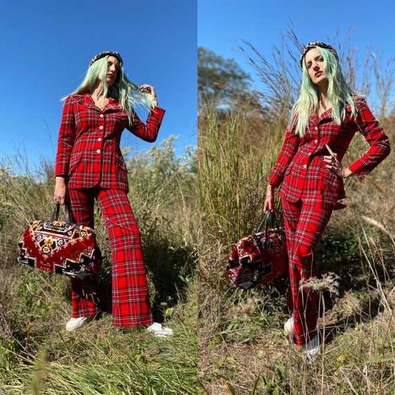 1970's Punky Red Plaid Two Piece Pant Suit - image 1