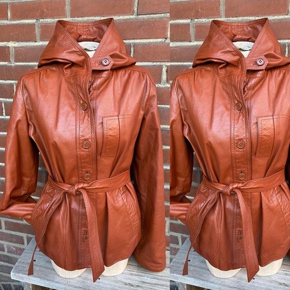 Funky 1970's Orange Brown Hooded Leather Jacket
