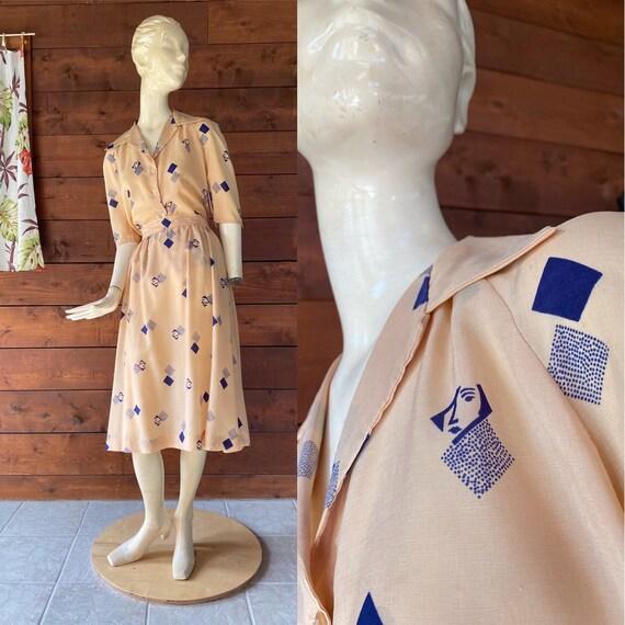 Vintage 1970's 80's Skirt Set/Deco Face Print