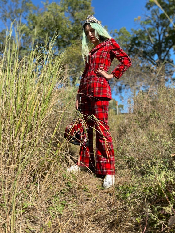 1970's Punky Red Plaid Two Piece Pant Suit - image 4