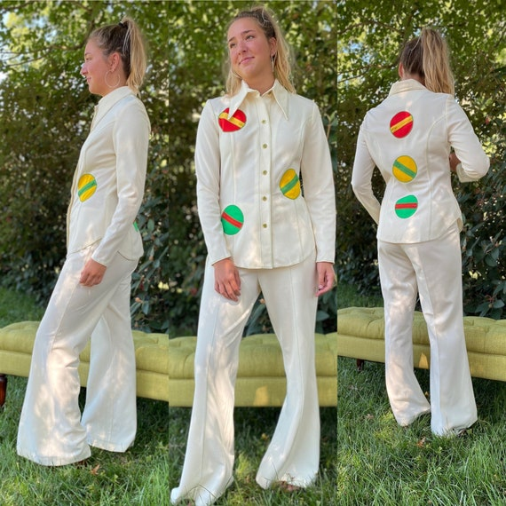 Cool 1970's Two Piece Pantsuit Multiple Zippered P
