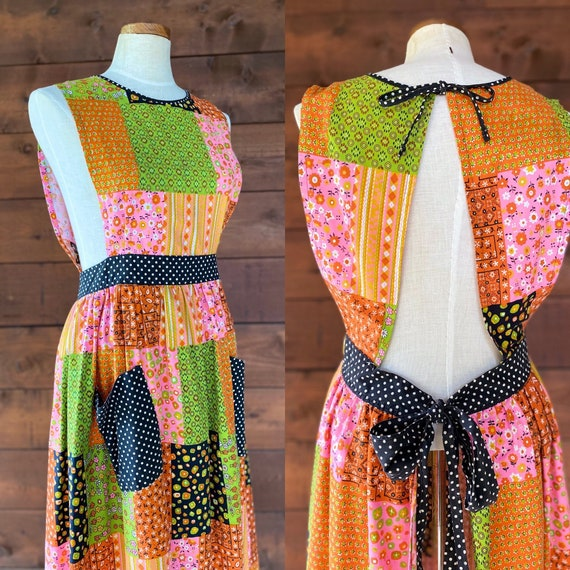 Vintage 1970's Calico Patchwork Apron Maxi Dress