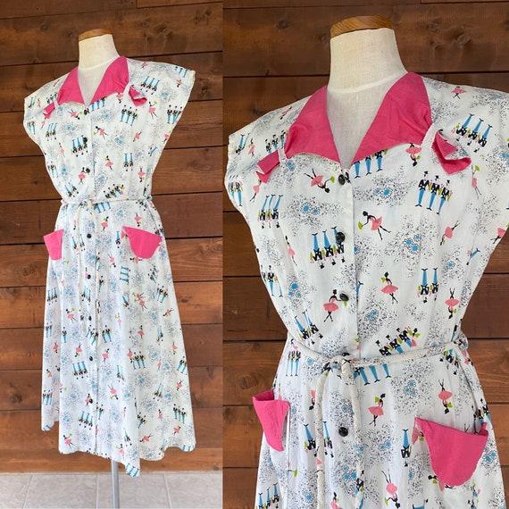 Vintage 1950's Novelty Print Cotton Dress